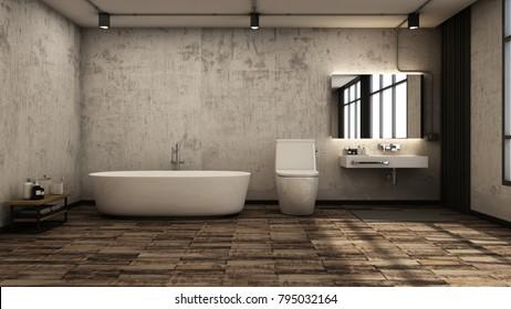 Bathroom design Loft wall concrete/floor wood -3D render