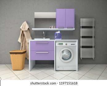 Bathroom design with washing machine. 3d illustration