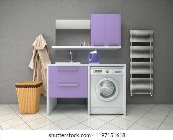 Bathroom design with washing machine. 3d illustration