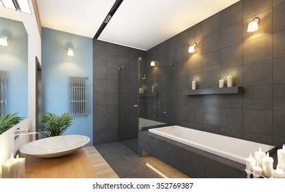 Bathroom in Grey and Blue Colors 3d Rendering