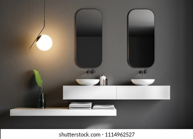 Bathroom inteiror with black walls, a double sink standing on white countertops and two vertical mirrors hanging above it. A marble floor. 3d rendering