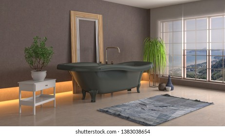 Bathroom interior. 3D illustration. Bath