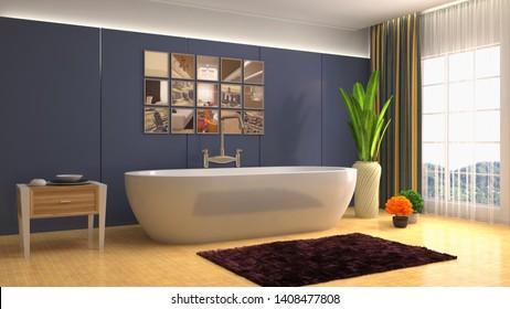 Bathroom interior. 3D illustration. Bath.
