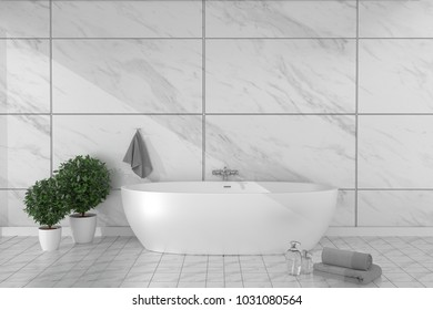 Bathroom interior bathtub in ceramic tile floor on granite tiles wall background - empty white concept. 3d rendering,mock up