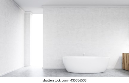 Bathroom interior with bathtub, concrete walls and floor. 3D Rendering