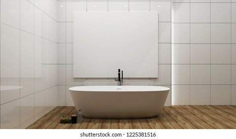 Bathroom interior bathtub and frame mock up. 3d rendering