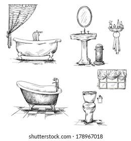 Bathroom interior elements. hand drawn. Bathtub, toilet bowl, sink. Sketch.