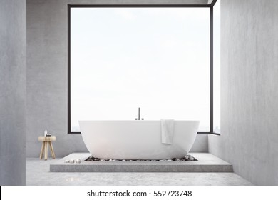 Bathroom interior with large square window, bathtub and a small chair with self care products. Concept of cleanness. 3d rendering. Mock up.