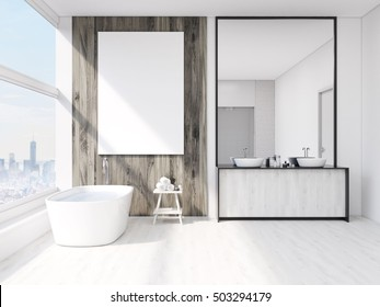 Bathroom interior with mirror, bath tub, table with towels and sink. Large vertical poster on wall, panoramic window. 3d rendering. Mock up