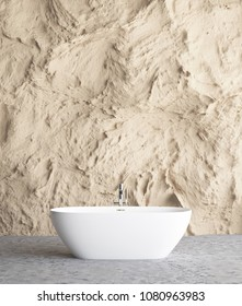Bathroom interior with rock wall mock up background, 3D render