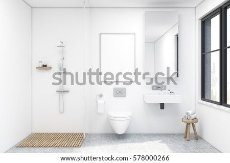 Bathroom Interior With A Shower, A Toilet And A Sink. There Is A Large