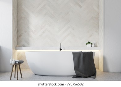 Bathroom interior with white wooden walls, a large round tub and a wooden chiar. 3d rendering mock up