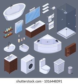 Bathroom isometric interior elements with pieces of furniture and lavatory equipment isolated images on grey background  illustration