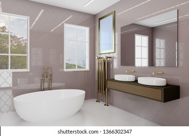 Bathroom with large windows and decorative purple tiles. Golden plumbing.. Blank paintings.  Mockup. 3D rendering