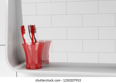 Bathroom mirror and two red toothbrushes, close up. 3D illustration