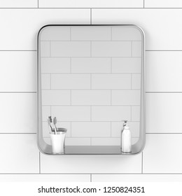 Bathroom mirror with two toothbrushes and liquid soap bottle on the tiled wall, front view. 3D illustration
