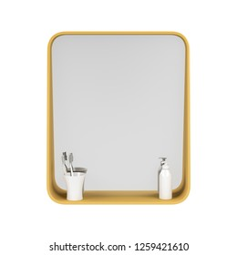 Bathroom mirror with two toothbrushes and liquid soap bottle isolated on white background, front view. 3D illustration
