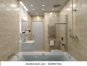 bathroom in stone finish