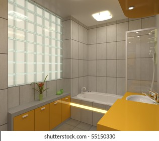 Bathroom With Toilet And Shower In The Yellow Tile