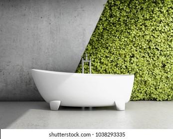 Bathroom with vertical garden. 3D illustration.