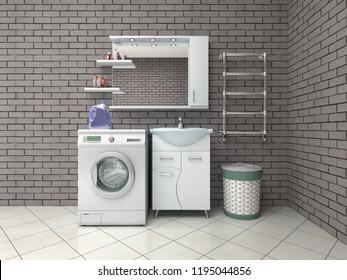 bathroom with washing machine. 3d illustration