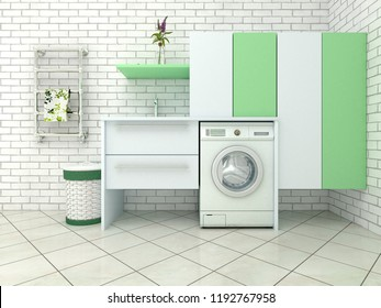 bathroom with washing machine and wardrobes. 3d illustration