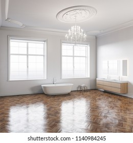 Bathroom in white classic interior with wooden floor 3D render