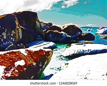 The Baths British Virgin Islands Watercolor