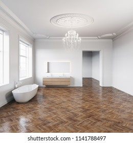 Bathtub in classic white interior with wooden parquet floor 3D render