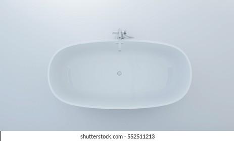 Bathtub top plan white background - 3d rendering