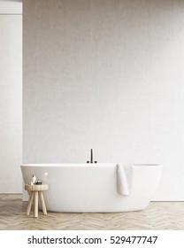 Bathtub with towel. 3d rendering. Mock up