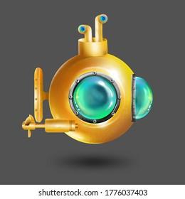 Bathyscaphe cartoon. Yellow submarine with periscope, bathyscaphe cartoon.