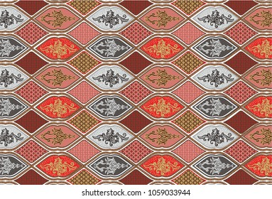 Batik Indonesian, traditional pattern motif, Indonesia ethnic design, 	 Oriental ethnic seamless pattern traditional background. Design for carpet, wallpaper, clothing, wrapping, batik, fabric