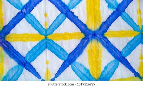 Batik Paint. White Aquarelle Silk. Antique Background. Indigo Dirty Drawing. Handmade Patchwork. Artistic Shape. Old Saturated Backdrop. Yellow Batik Paint.