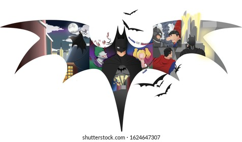 Batman Logo silhouette with some story on the background.