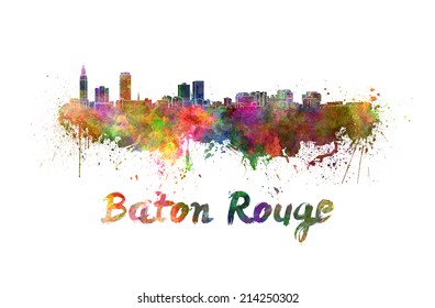 Baton Rouge skyline in watercolor splatters with clipping path