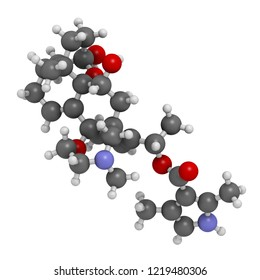 Batrachotoxin (BTX) neurotoxin molecule. Found in number of animals, including poison dart frogs. 3D rendering. Atoms are represented as spheres with conventional color coding.