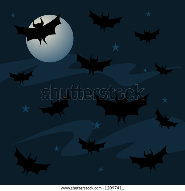 Bats fill the night sky, along with a full moon and stars... great imagery for Halloween