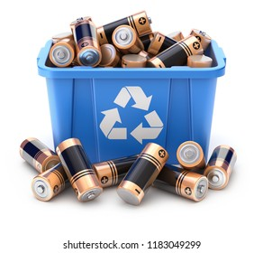 Batteries in blue recycle crate on white background - 3D illustration