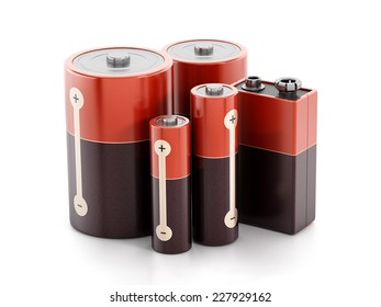 Batteries isolated on white background.
