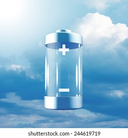 Battery in a blue sky denoting a free energy concept