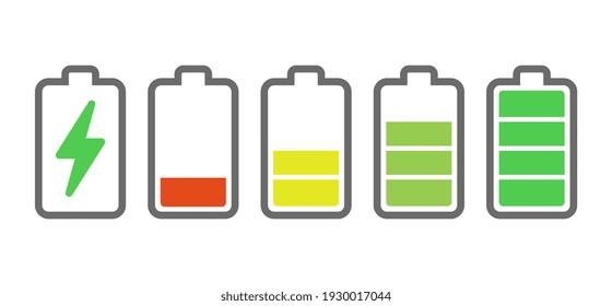 Ladeanzeigen für den Akku. Energiesymbole. Illustration zur Batterieladung. Stromversorgungsanzeiger für Smartphones