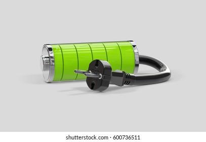 Battery charging. Battery full level, isolated on grey, 3d illustration