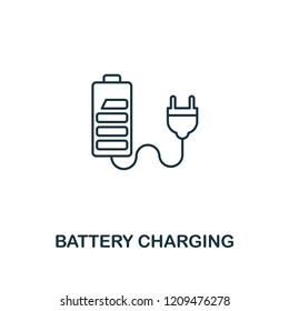 Battery Charging icon outline style. Premium pictogram design from power and energy icons collection. Simple thin line element. Battery Charging icon for web design, mobile apps and printing usage.