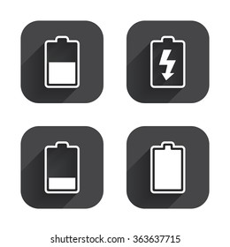 Circle Buttons Battery Charging Icons Electricity Stock Vector