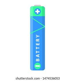 Battery flat colorful clipart isolated.  battery aaa. Isolated on white background.