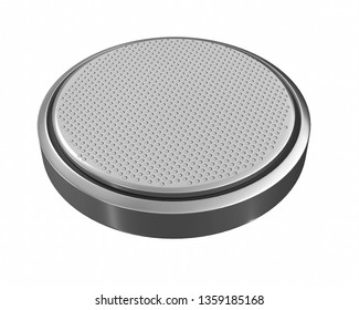 Battery lithium CR2032 close-up 3D rendering isolated on white background