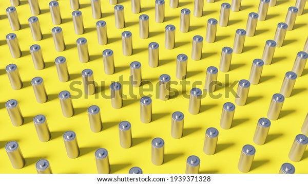 Battery pack background on a yellow backdrop. AA or 18650 vape or electric car Lithium battery of metallic material standing in a row in large groups. 3D Illustration