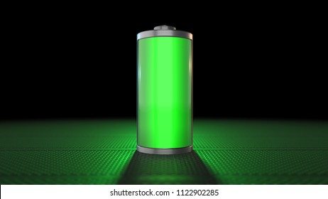 Battery power electrical energy supply of rechargeable green energy 3D Render Graphic