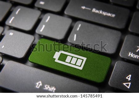 Battery status key with battery life icon on laptop keyboard. Included clipping path, so you can easily edit it.